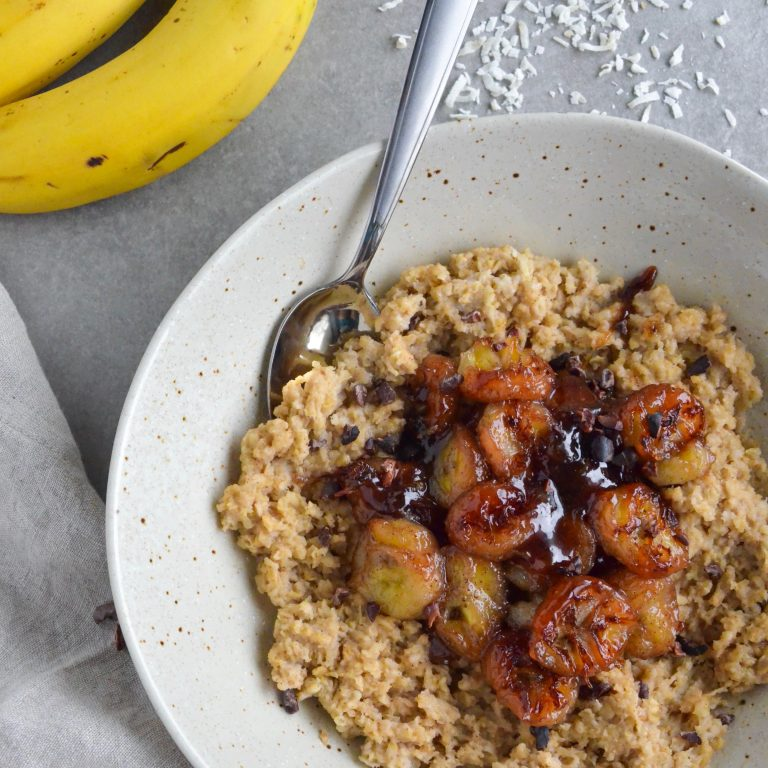Caramelized Banana and Peanut Butter Oats (Vegan, Gluten Free)