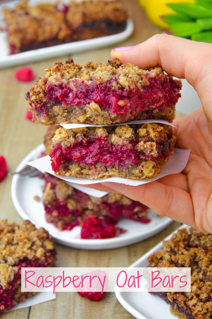 raspberry oat bars- veggie world recipes