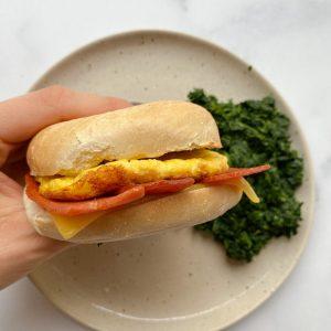 vegan bacon egg and cheese breakfast bagel