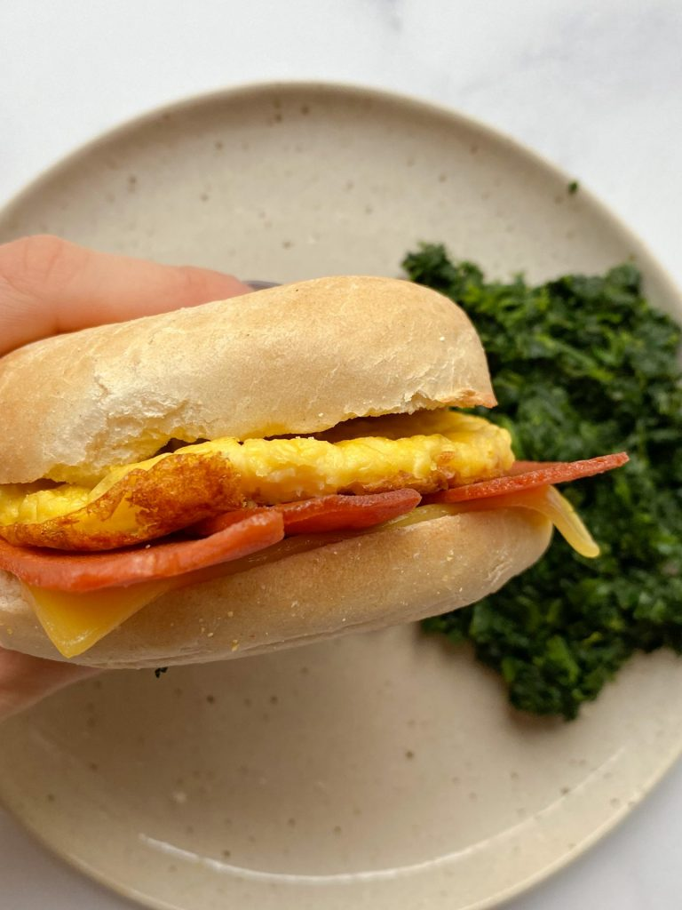 "Vegan ""Bacon, Egg, and Cheese"" Breakfast Bagel"