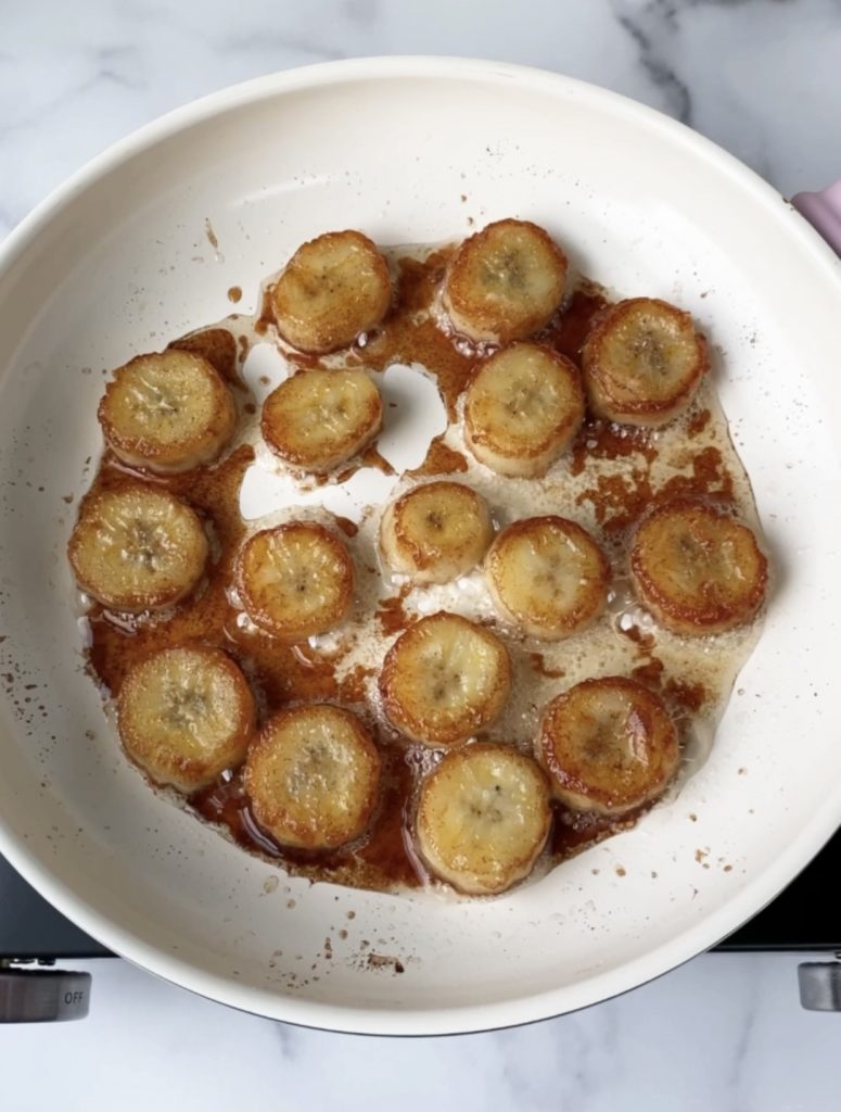 caramelized bananas on pan
