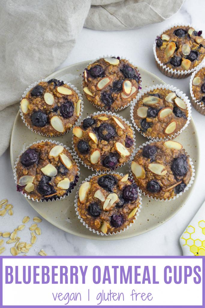 pin of vegan banana blueberry muffins