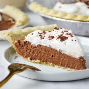 chocolate pie slice on a plate