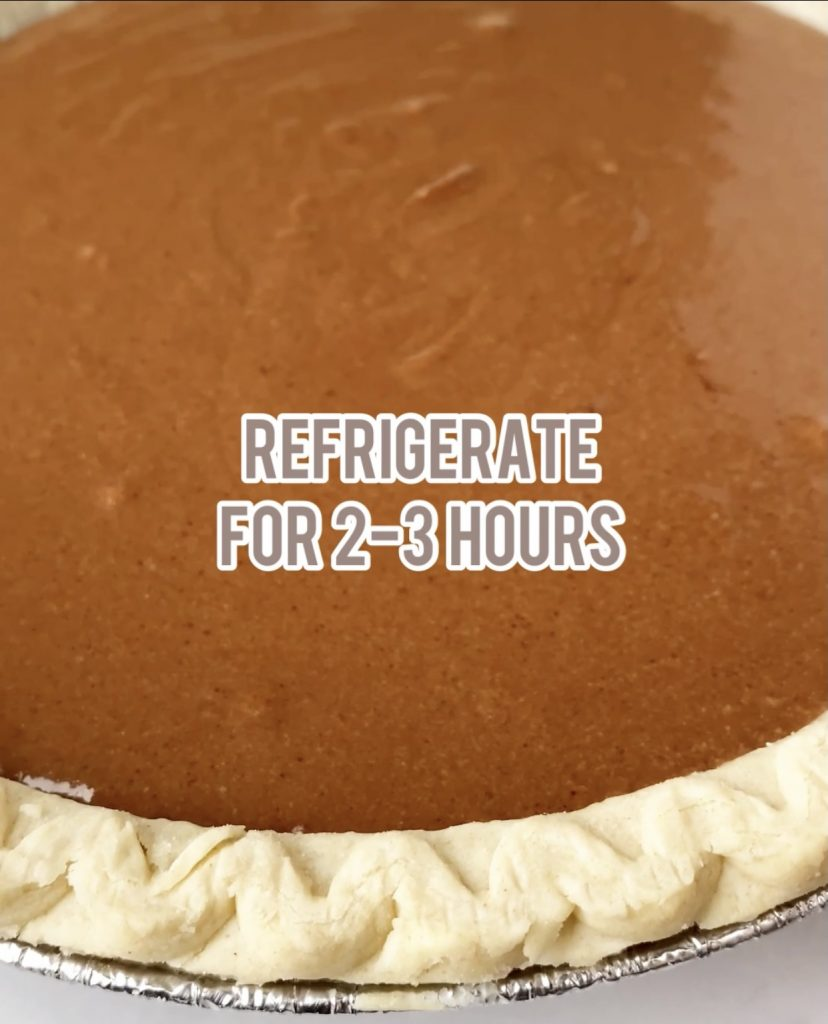 chocolate pie ready to refrigerate