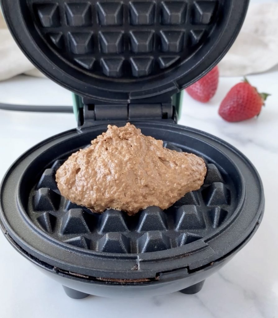 batter in a waffle maker