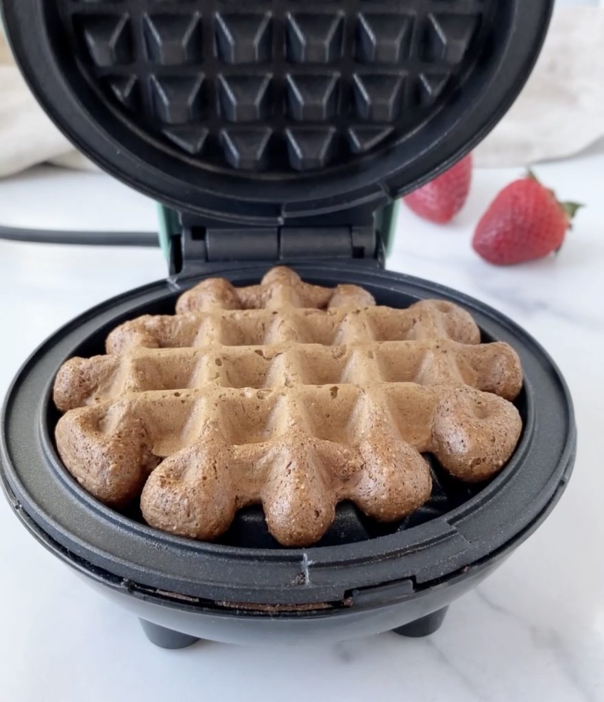 chocolate waffle in a waffle maker