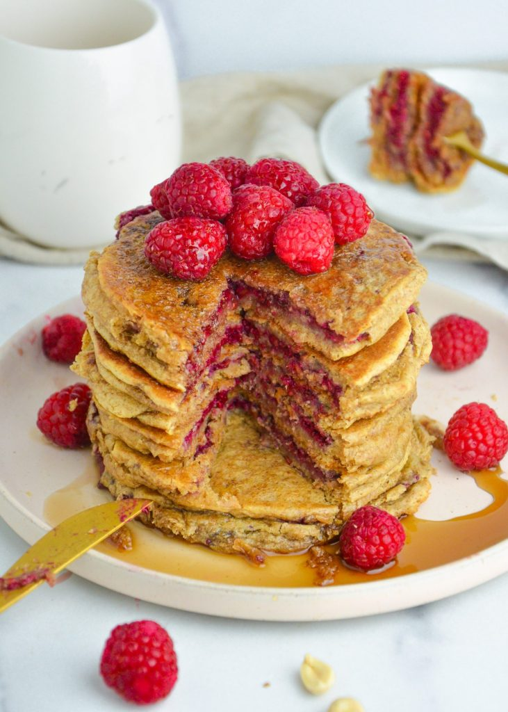 peanut butter and jelly pancakes on a plate