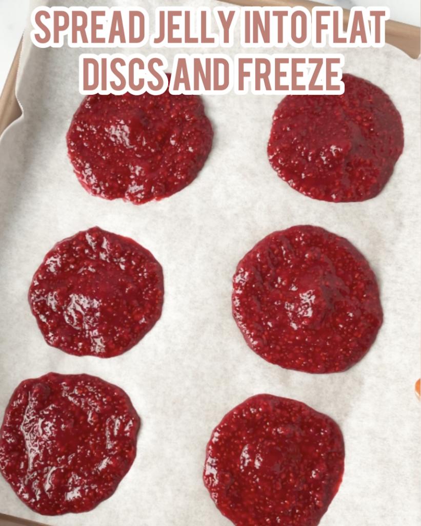 jelly dollops on baking tray