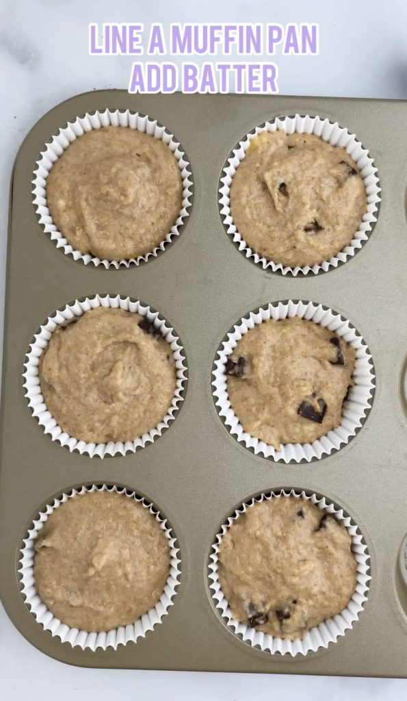muffin ban with muffin batter