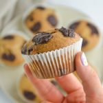 chocolate chip muffin in hand