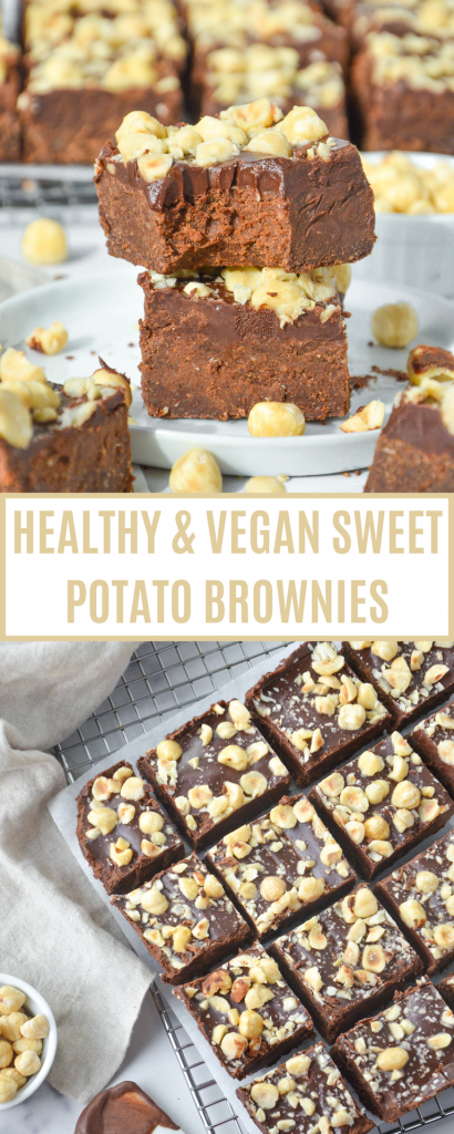 pin of vegan sweet potato brownies