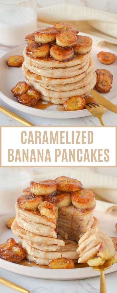 pin of pancakes with bananas