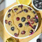 overhead shot of blueberry oatmeal